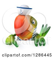 Clipart Of A 3d Green Parrot Sailor Pointing Down Over A Sign Royalty Free Illustration