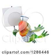 Clipart Of A 3d Green Parrot Sailor Flying And Holding Up A Blank Sign Royalty Free Illustration