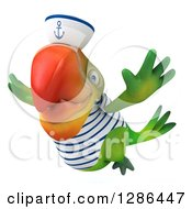 Clipart Of A 3d Green Parrot Sailor Flying Slightly To The Left Royalty Free Illustration
