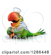 Clipart Of A 3d Green Parrot Sailor Facing Left And Playing A Guitar Royalty Free Illustration
