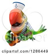 Clipart Of A 3d Green Parrot Sailor Flying Slightly Left And Playing A Guitar Royalty Free Illustration