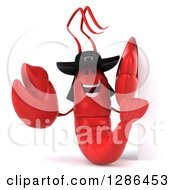 3d Happy Breton Lobster By A Sign