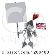 Clipart Of A 3d Medieval Knight Holding A British Flag And A Blank Sign Royalty Free Illustration