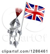 Clipart Of A 3d Medieval Knight Holding A British Flag And Looking Around A Sign Royalty Free Illustration