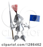 Clipart Of A 3d Medieval Knight Holding A Spear And A Europe Flag Royalty Free Illustration