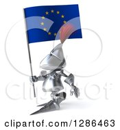 Clipart Of A 3d Medieval Knight Walking To The Left And Holding A Europe Flag Royalty Free Illustration