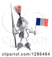 Clipart Of A 3d Medieval Knight Holding A Spear And A French Flag Royalty Free Illustration
