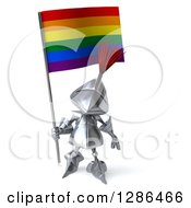 Clipart Of A 3d Medieval Knight Holding A Rainbow Flag Royalty Free Illustration