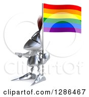 Clipart Of A 3d Medieval Knight Pointing To The Left And Holding A Rainbow Flag Royalty Free Illustration
