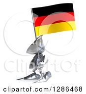 Clipart Of A 3d Medieval Knight Facing Left And Holding A German Flag Royalty Free Illustration