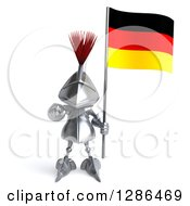 Clipart Of A 3d Medieval Knight Pointing Outwards And Holding A German Flag Royalty Free Illustration