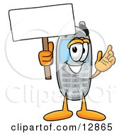 Clipart Picture Of A Wireless Cellular Telephone Mascot Cartoon Character Holding A Blank Sign by Toons4Biz