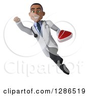 Clipart Of A 3d Young Black Male Doctor Flying With A Beef Steak Royalty Free Illustration
