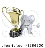 Clipart Of A 3d Happy Tooth Character Holding Up A Trophy And Thumb Royalty Free Illustration
