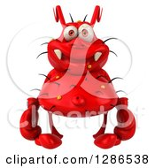 Clipart Of A 3d Red Germ Virus Wearing Boxing Gloves Royalty Free Illustration