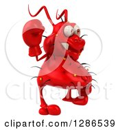 Clipart Of A 3d Red Germ Virus Wearing Boxing Gloves Facing Right And Waving Royalty Free Illustration
