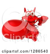 Clipart Of A 3d Red Germ Virus Wearing Boxing Gloves And Punching Upwards Royalty Free Illustration