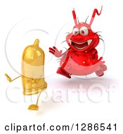 Clipart Of A 3d Red Germ Virus Chasing A Yellow Condom Royalty Free Illustration by Julos