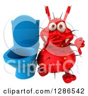Clipart Of A 3d Red Germ Virus Plugging His Nose And Holding A Thumb Down By A Toilet Royalty Free Illustration