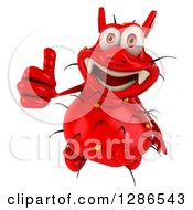 Clipart Of A 3d Red Germ Virus Holding A Thumb Up Royalty Free Illustration