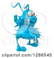 Clipart Of A 3d Blue Germ Virus Facing Right And Waving Royalty Free Illustration