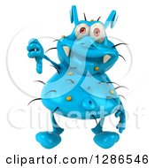 Clipart Of A 3d Blue Germ Virus Giving A Thumb Down Royalty Free Illustration