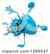 Clipart Of A 3d Blue Germ Virus Cartwheeling Royalty Free Illustration