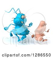 Clipart Of A 3d Blue Germ Virus Chasing A Foot To The Right Royalty Free Illustration