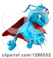Clipart Of A 3d Blue Germ Virus Super Hero Flying To The Right Royalty Free Illustration