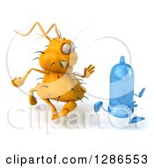 Clipart Of A 3d Yellow Germ Chasing A Blue Condom To The Right 2 Royalty Free Illustration