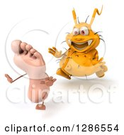 Clipart Of A 3d Yellow Germ Virus Chasing A Foot To The Left Royalty Free Illustration