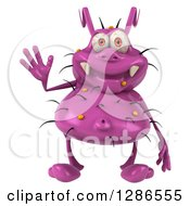 Clipart Of A 3d Purple Germ Virus Waving Royalty Free Illustration