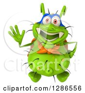 Clipart Of A 3d Green Germ Super Hero Looking Up And Waving Royalty Free Illustration