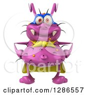 Clipart Of A 3d Purple Germ Virus Super Hero Royalty Free Illustration