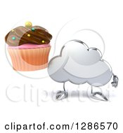 Clipart Of A 3d Silver Cloud Character Holding A Chocolate Frosted Cupcake Royalty Free Illustration by Julos