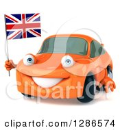 Clipart Of A 3d Orange Compact Porsche Car Facing Slightly Left And Holding A British Flag Royalty Free Illustration