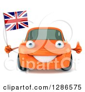 Clipart Of A 3d Orange Compact Porsche Car Holding A Thumb Up And A British Flag Royalty Free Illustration