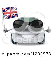 Clipart Of A 3d White Compact Porsche Car Wearing Sunglasses Holding A Thumb Up And A British Flag Royalty Free Illustration