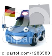 Clipart Of A 3d Blue Mechanic Porsche Car Facing Slightly Left Holding A Blank Sign And German Flag Royalty Free Illustration