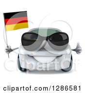 Clipart Of A 3d White Porsche Car Wearing Sunglasses Holding A Thumb Up And German Flag Royalty Free Illustration