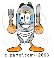 Wireless Cellular Telephone Mascot Cartoon Character Holding A Knife And Fork