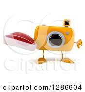 Clipart Of A 3d Yellow Camera Character Holding A Thumb Down And A Steak Royalty Free Illustration