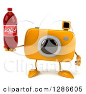 Clipart Of A 3d Yellow Camera Character Holding A Soda Bottle Royalty Free Illustration
