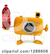 Clipart Of A 3d Yellow Camera Character Holding A Thumb Up And A Soda Bottle Royalty Free Illustration