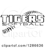 Clipart Of Black And White TIGERS SOFTBALL Text Over Stitches Royalty Free Vector Illustration by Johnny Sajem
