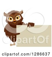 Clipart Of A Happy Brown Owl Pointing To And Holding A Blank Sign Board Royalty Free Vector Illustration