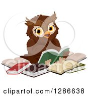 Clipart Of A Brown Owl Sitting In A Circle Of Books And Reading Royalty Free Vector Illustration