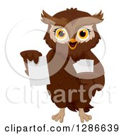 Clipart Of A Brown Owl Holding Up A Flash Card Royalty Free Vector Illustration
