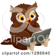 Clipart Of A Brown Owl Sitting On The Floor And Using A Laptop Computer Royalty Free Vector Illustration