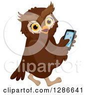 Clipart Of A Brown Owl Walking And Using A Smart Cell Phone Royalty Free Vector Illustration